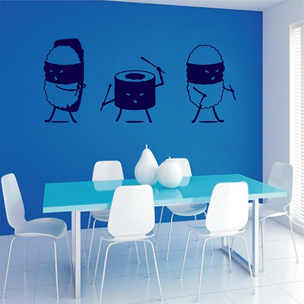 ik2795 Wall Decal Sticker Funny Ninja Sushi Bar Restaurant Showcases
