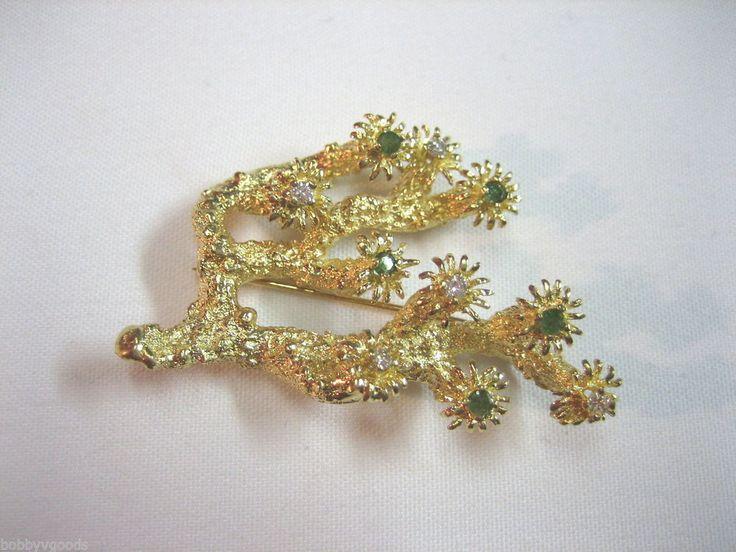 VINTAGE ESTATE JEWELRY 14K YELLOW GOLD W/ DIAMOND & PERIDOT STONE BROOCH PIN #1