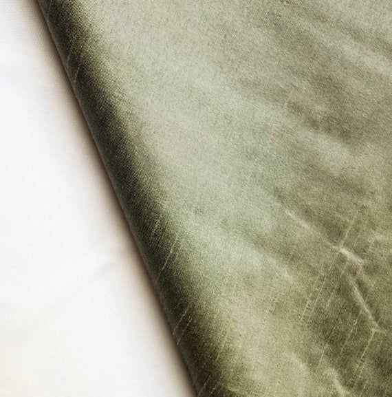 Taupe Green Silk Fabric By The Yard, Green Faux Silk Curtain Fabric, Apparel Fabric, Silk Dupioni Fa