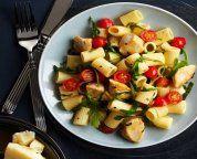 Rigatoni avec poulet, tomates et roquette