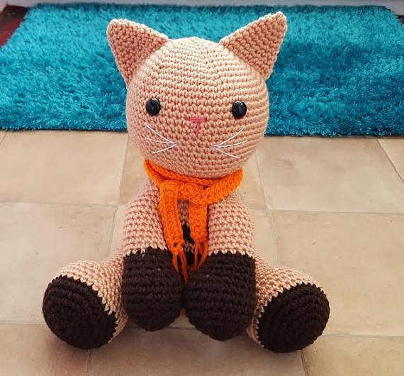 Brown  Crochet Cat