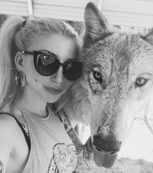 """""""I got to hang out with rescue wolves earlier today…it was sick."""": Morgan Joyce.Professional model."""
