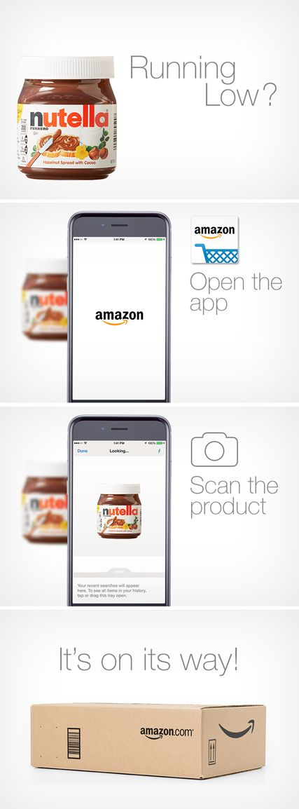 Never run out of Nutella! Order it in a pinch with the Amazon mobile app. Open…