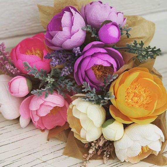 Papel crepé flores - regalo de día de la madres - boda ramo de flores - regalo de aniversario