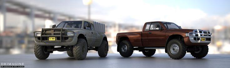 Który Wam się bardziej podoba? #AkademiaAnimacji3D #Drimagine #hard #modeling3d #car #jeep #track