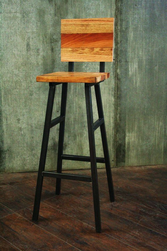 The Bar Stool With A Back The Nice Look Of Reclaimed Wood