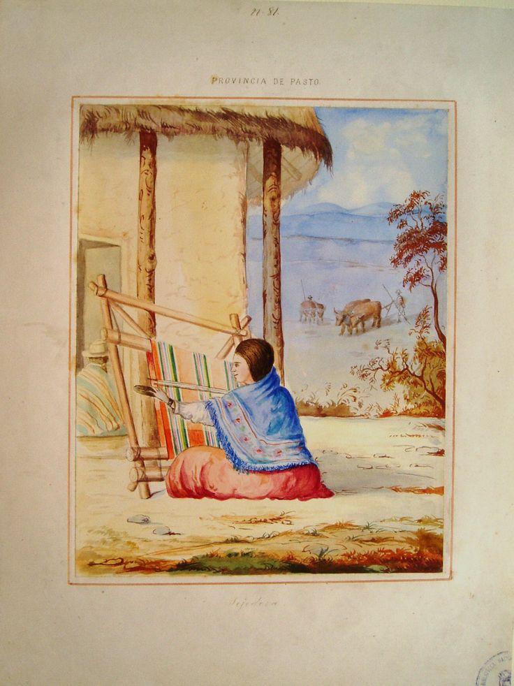 """""""Tejedora. Provincia de Pasto"""". Manuel María Paz, 1853. BNC, 5030."""