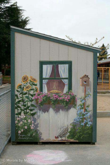 Beautiful mural on the side of a storage shed via Morgan Murals