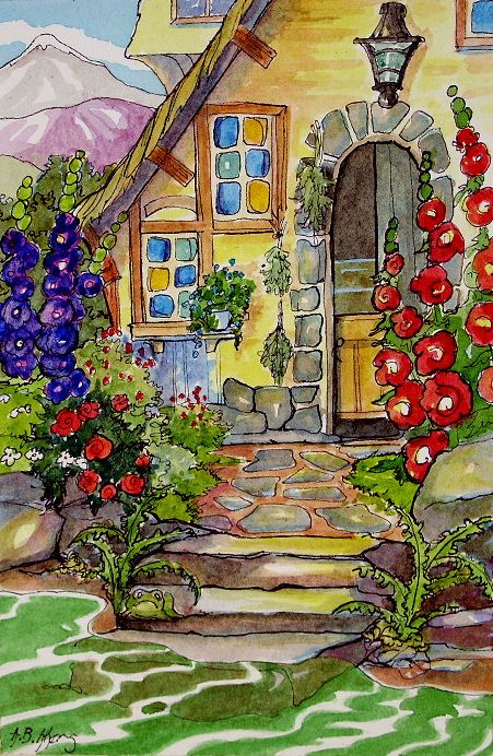 Between the mountains and the river sits a gardener's cottage.  Each square foot of the postage size yard boasts some growing thing...and if you can find him some hopping thing.  The latest in my series of vintage storybook inspired watercolors.