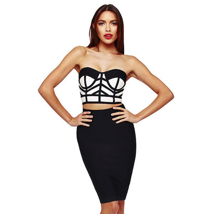 Sexy Striped Printed Women Bodycon 2 Piece Set 2015 New Fashion Women's Club Crop Top+High Waist Mini Skirt Women QL351