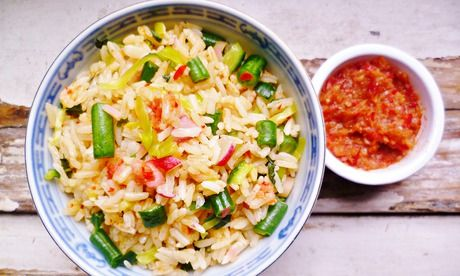 22 recipes for left over rice - includes Malaysian vegetable and herb rice salad (nasi ulam). Photograph: Rachel Kelly