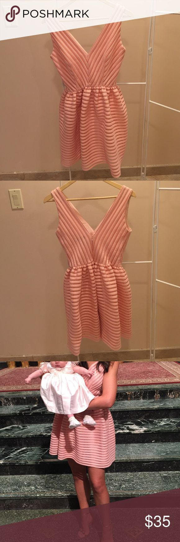 Aqua (Bloomingdales Brand) Dress Pale Pink V-neck Fit and Flare Dress , By Aqua . Super Flattering  and comfortable. PERFECT ✨ Fairy Godmother Dress ✨. Worn for probably 6 hours in perfect condition .. Baby not for sale !  Aqua Dresses Mini