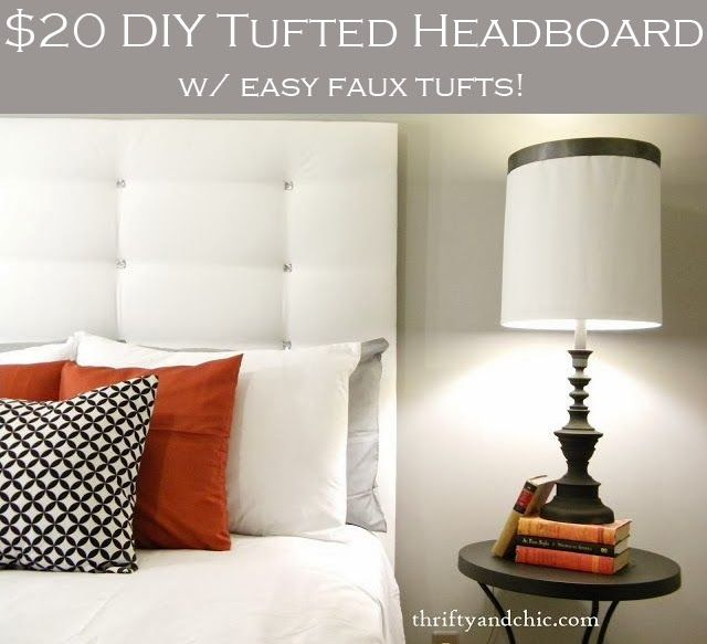DIY tufted headboard. Super easy to make with the faux tufts and all for under $20! But I would do a different color & bigger buttons.