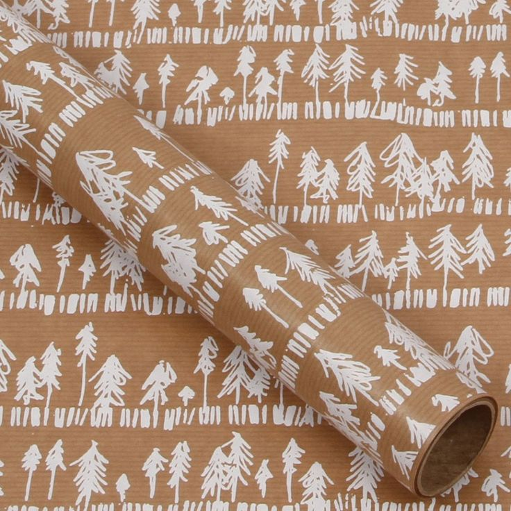 Kraft trees 3m roll wrapping paper
