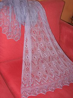 """I made this pattern for my Mum as she loves spring flowers and lots of nupps. The stitch patterns are from the book, """"The Haapsalu Shawl: A Knitted Lace Tradition from Estonia"""" by Siiri Reimann, Aime Edasi"""