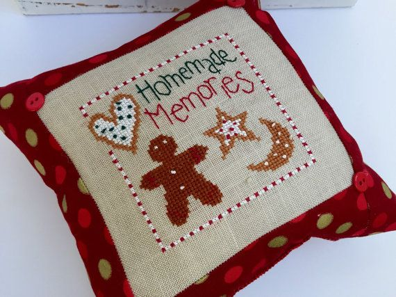 Cute for adding to a Christmas tree or any holiday decor! Stitched on beige linen using DMC thread, this design measures 8 x 8. Add to a gift basket or neighbor present! Ready to ship today