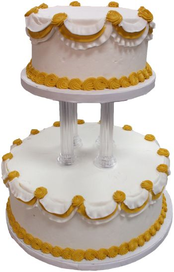 2 Tier Pillar Seperator Wedding Cake Decorated With White And Gold Buttercream Swags