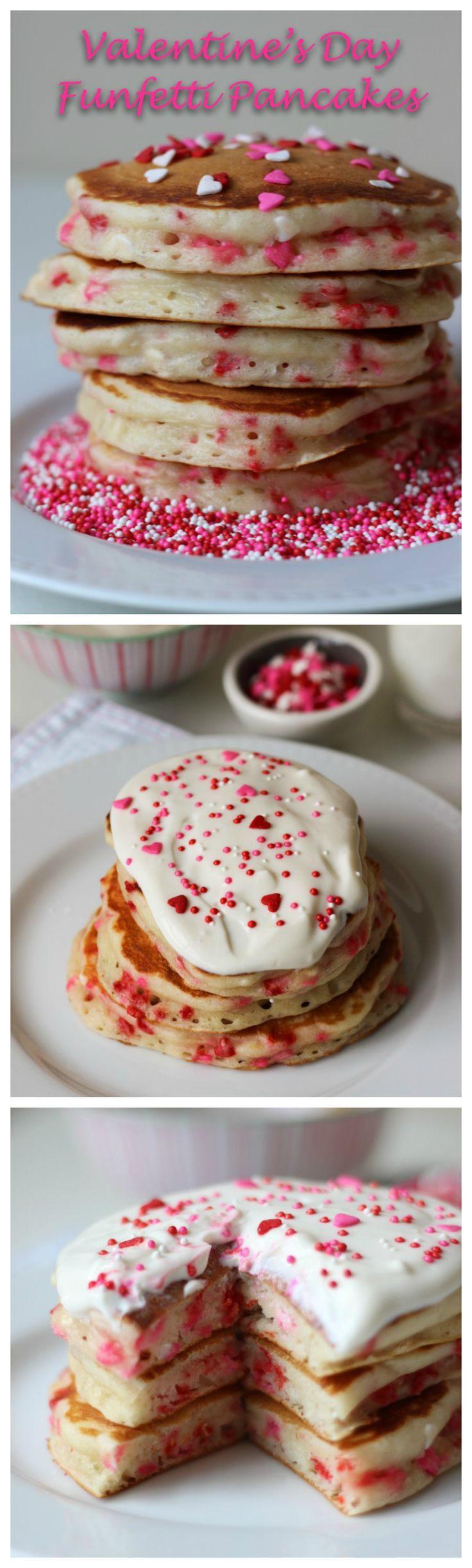 Valentine's Day Funfetti Pancakes with Vanilla Greek Yogurt Sauce   ChezCateyLou.com