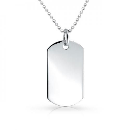 Engravable Sterling Silver 1.5in Classic Dog Tag Pendant Beaded Chain 24`