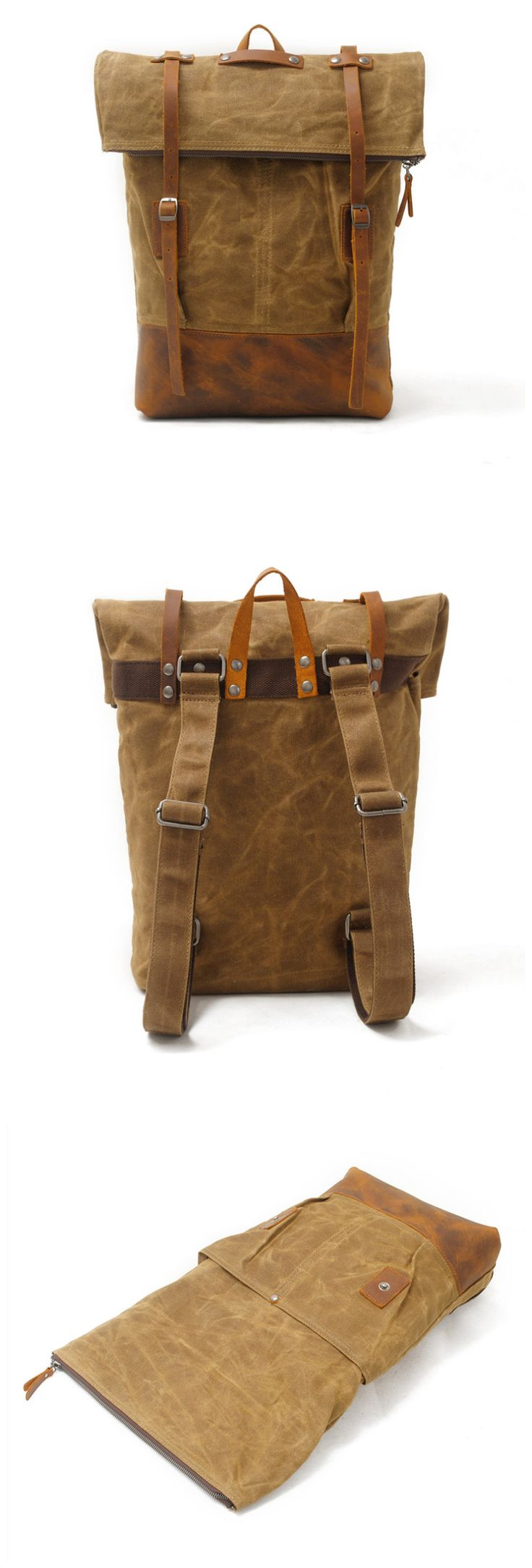 Waxed Canvas Leather Backpack Travel Backpack Rucksack Features: • Crazy horse leather • Solid Quality Hardware • 16OZ waxed canvas ********************************************** Dimensions: Length: 3