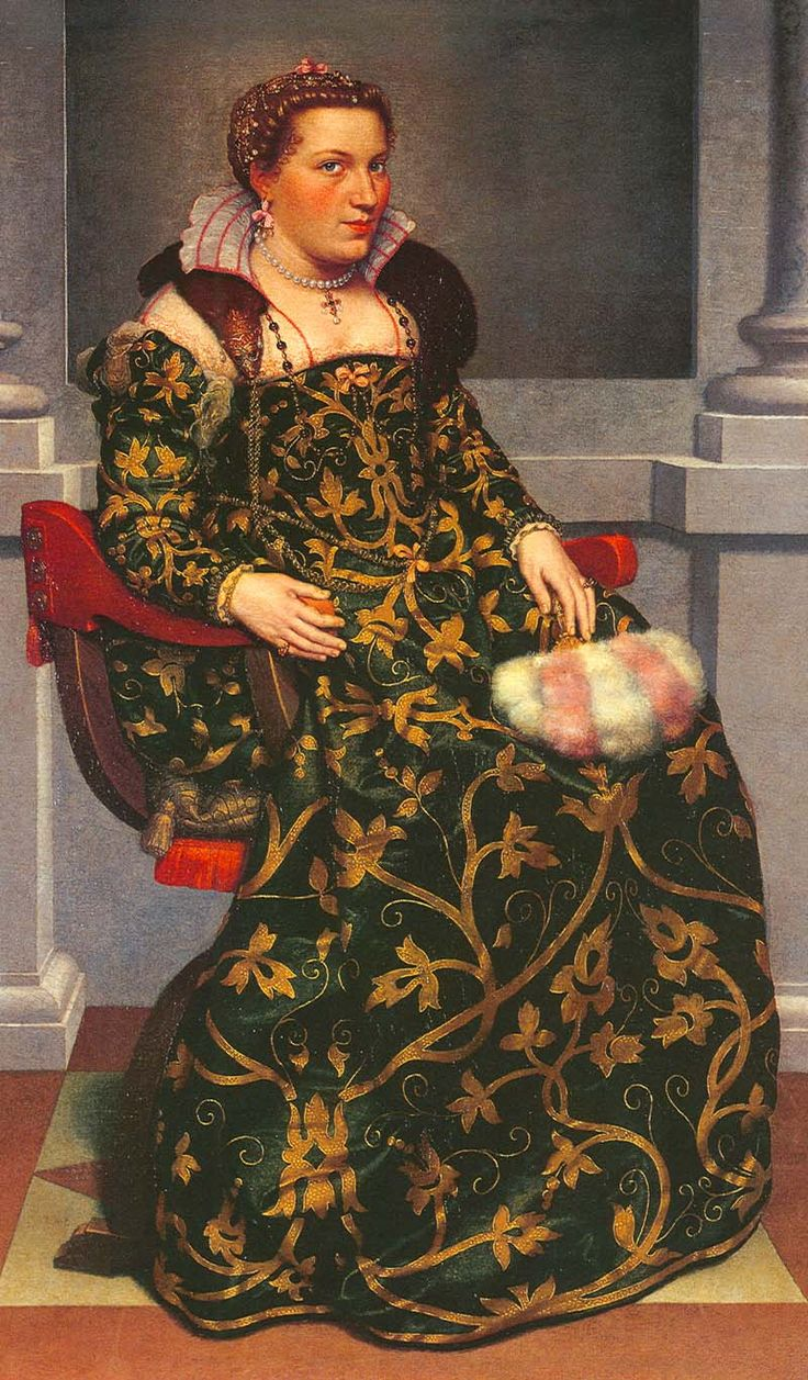 1552-1553 Isotta Brembatti by Giovanni Battista Moroni-EXCERPT: While there are strong connections between Spanish and Italian fashion, Lady Isotts wears a skirt with no supports and an opaque glossy over-partlet with a striped ruff underneath. Her dress also has a wider plain partlet. Her sleeves are narrow, not puffed. There is no lace on this gorgeous dress.