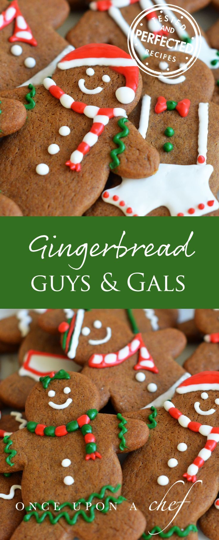 Gingerbread Men - Crisp outside and soft inside, they taste as good as they look. #christmasrecipe #christmascookies #gingerbread #christmasbaking #christmasfood #delicious #testedandperfected