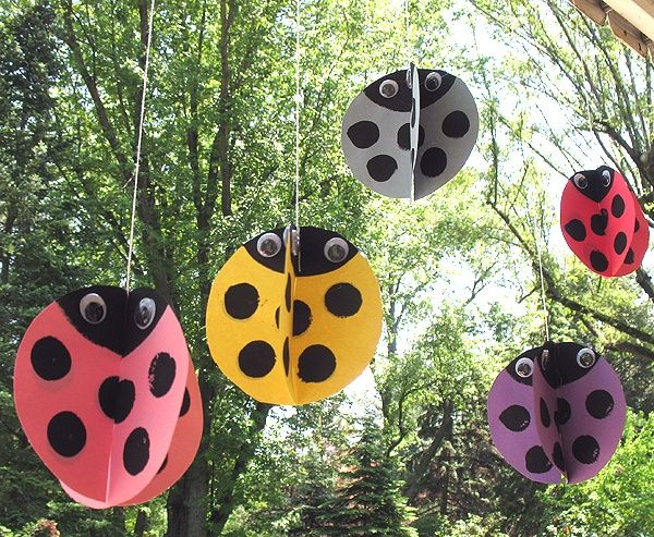 Hanging Paper Ladybug Craft for Kids