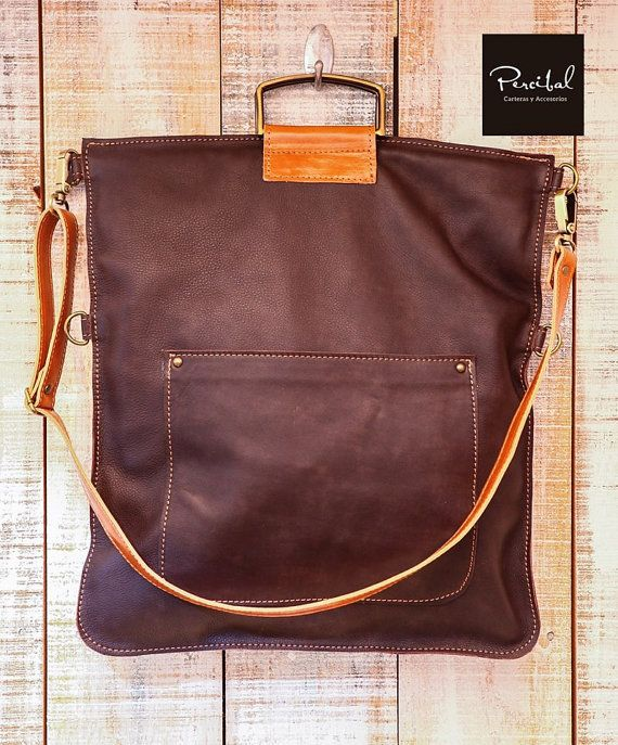 School leather tote taupe leather bag plus size by Percibal