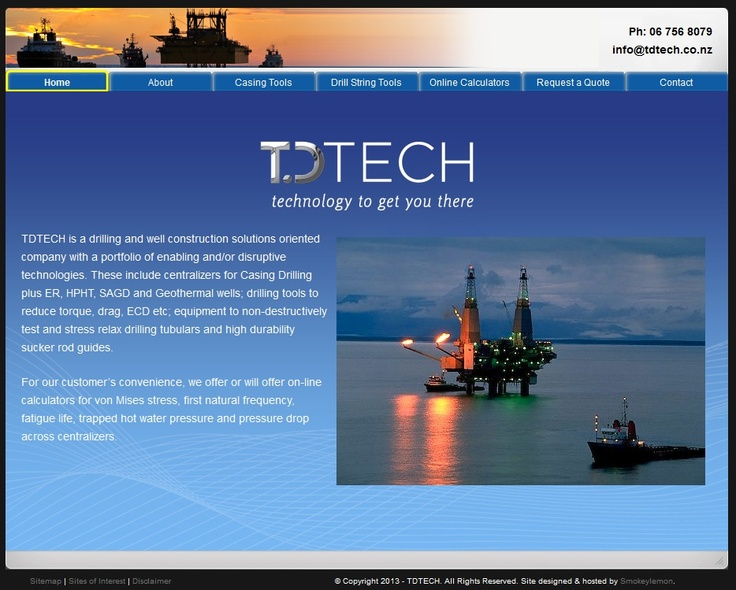 TDTECH is a drilling and well construction solutions oriented company with a portfolio of enabling and/or disruptive technologies. These include centralizers for Casing Drilling plus ER, HPHT, SAGD and Geothermal wells; drilling tools to reduce torque, drag, ECD etc; equipment to non-destructively test and stress relax drilling tubulars and high durability sucker rod guides.
