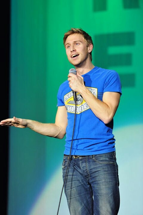 Russell Howard. Took the boys to see him at the 02 last year. Stupidly funny! One of the most charismatic stand ups I have ever seen.