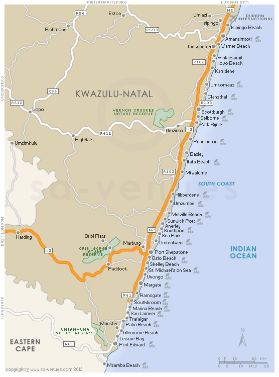 Sardine Run Map of the South Coast of KZN