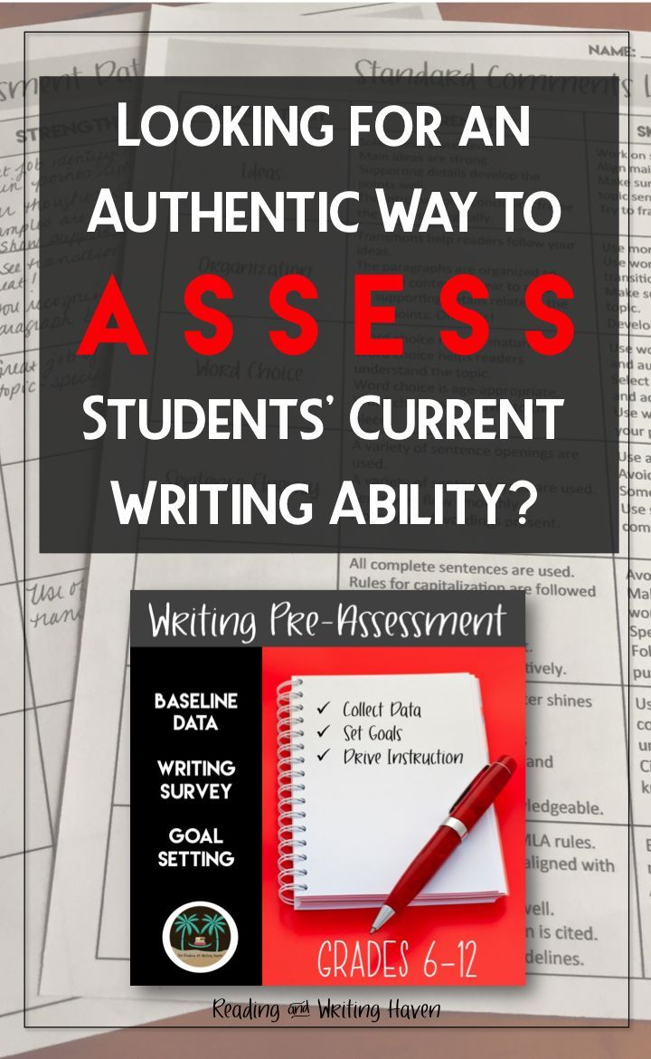 Whether you're tutoring, screening, or teaching in a regular or intervention setting, this writing pre-assessment will help you collect baseline data to set goals and gear instruction. Works with any middle or high school writing prompt.