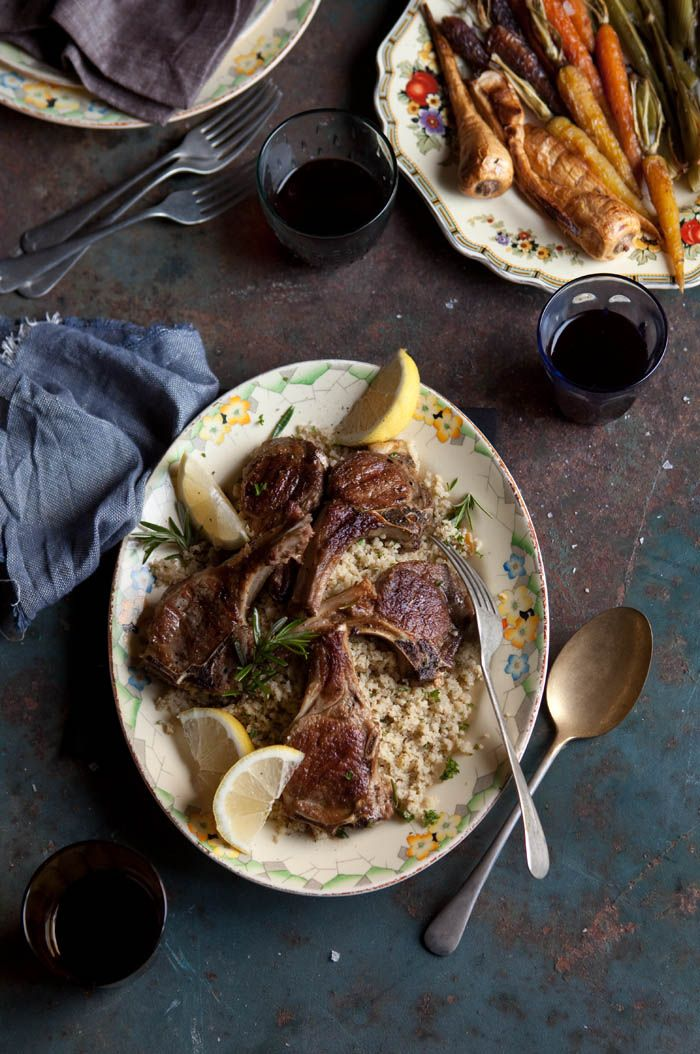 """Grilled lamb chops with with rosemary and garlic on lemon cauliflower 'cous cous"""" #recipes"""