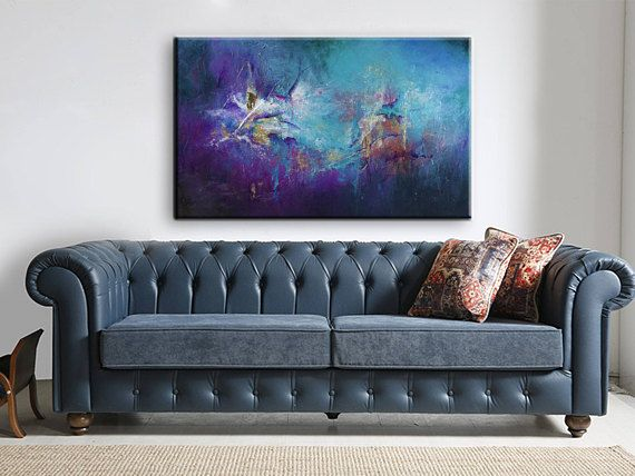 Abstract Art Large Artwork Aqua Abstract Painting Purple #abstract #art #painting #acrylic #jennybagwill