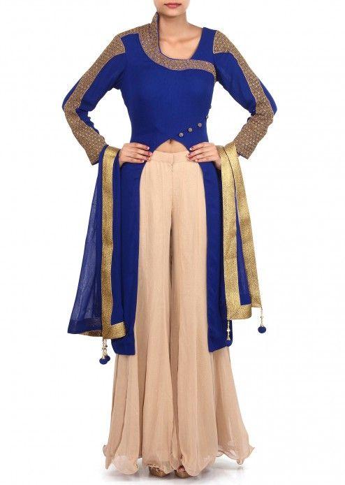 Royal blue suit adorn in zardosi embroidery only on Kalki