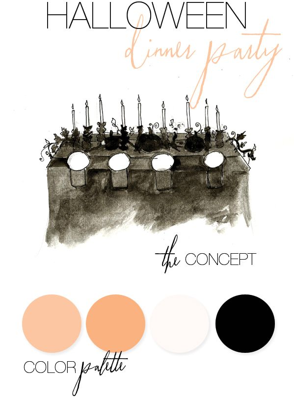 Halloween Dinner Party inspiration, black and white with a dash of pale peach.