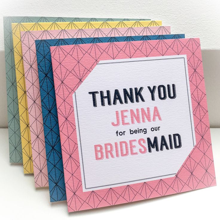 Geometric pattern wedding party thank you cards for your Bridesmaids, Best Man, Usher and all the other important people there on your big day!