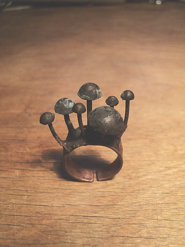 sculptural mushroom ring by pinkywinkybijoux on etsy #jewellery #jewelry #design inspired by nature