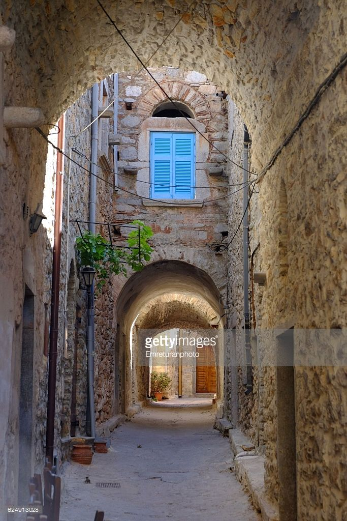 Mesta is an old village in Chios island,Greece.The town dates back to medieval times and almost all the streets are narrow as senn in the photograph.Life is quiet and peaceful.
