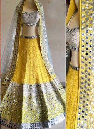 Yellow An Off White Heavy Mirror Work Thread Resham Work Wedding Lehenga Choli http://www.angelnx.com/