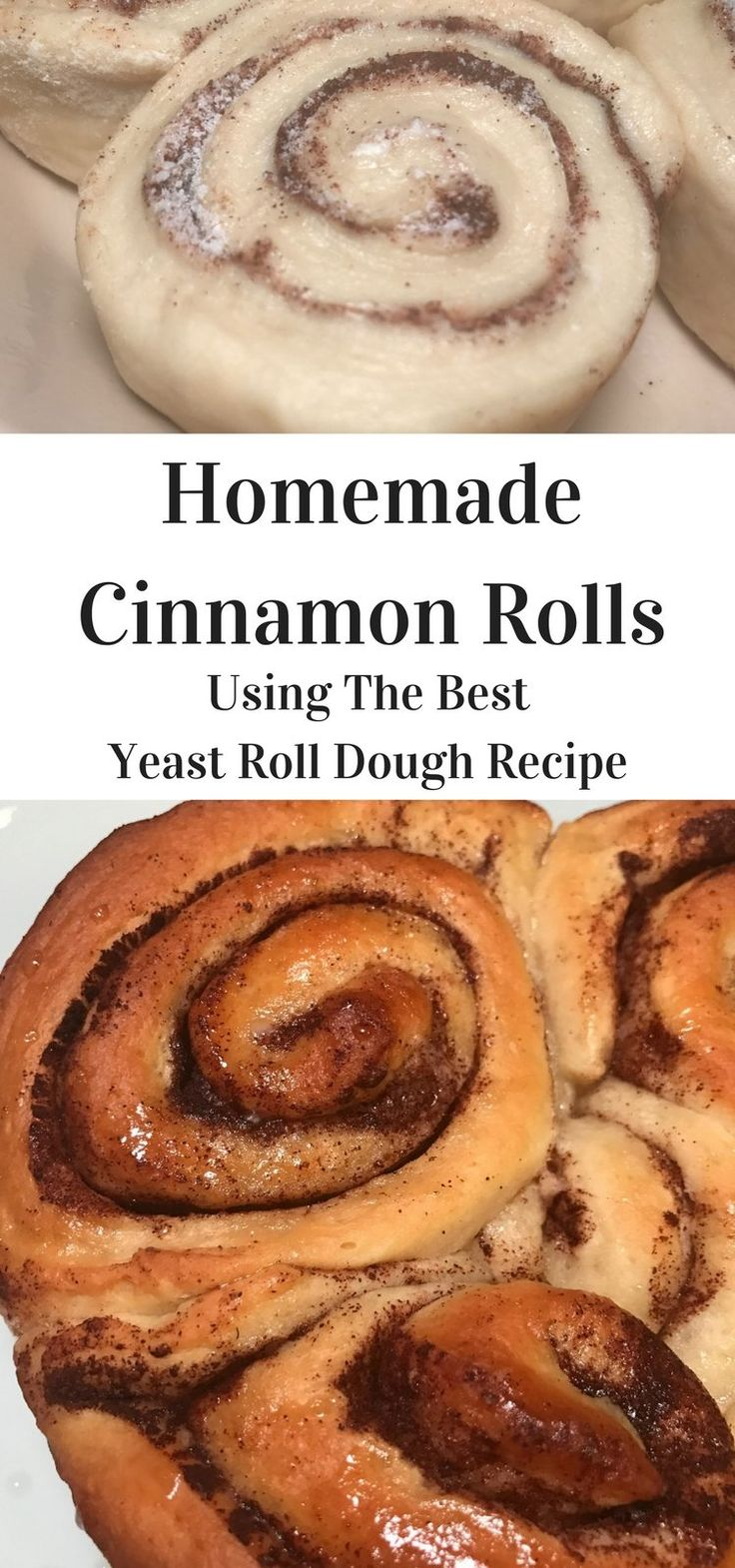 Yummy Homemade Cinnamon Rolls, warm, sweet, gooey and delicious buns of goodness are made from the Best Yeast Roll Dough Recipe!