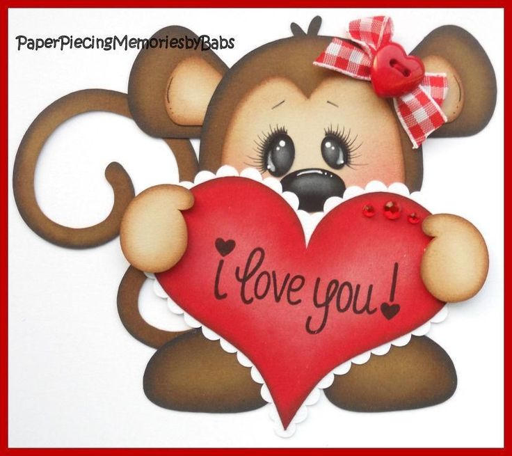 Premade Paper Pieced I Love You Monkey for Scrapbook Pages-by Babs