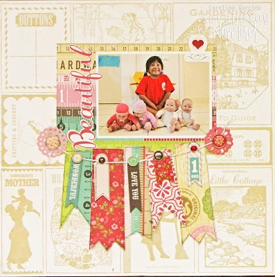 Big banner layout created for Scrapbooking Supplies Online, using This and That Graceful (Echo Park).