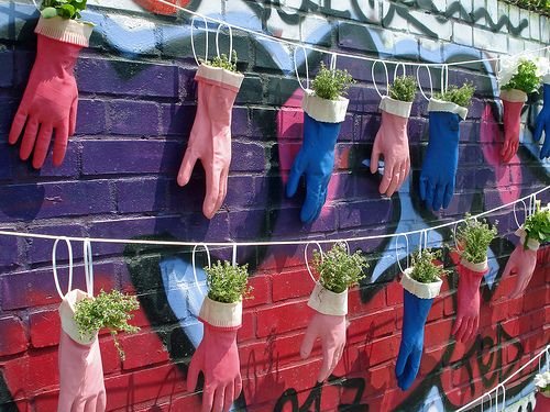 Urban garden--maybe strung between dog kennels...hmmm: Ideas, Gardens Can, Herbs, Urban Gardens, Gardens Planters, Plants Holders, Rubber Gloves, Small Spaces, Hanging Gardens