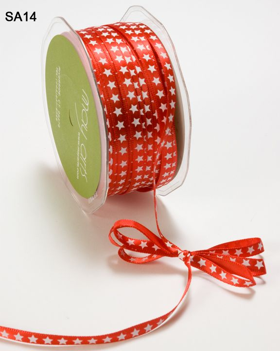 1/4 inch Red Satin Ribbon with Stars 1