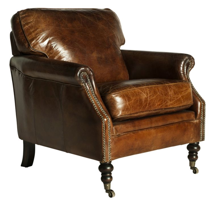 Darcy Vintage Leather Club Chair l Distressed leather Chair l Vinatge