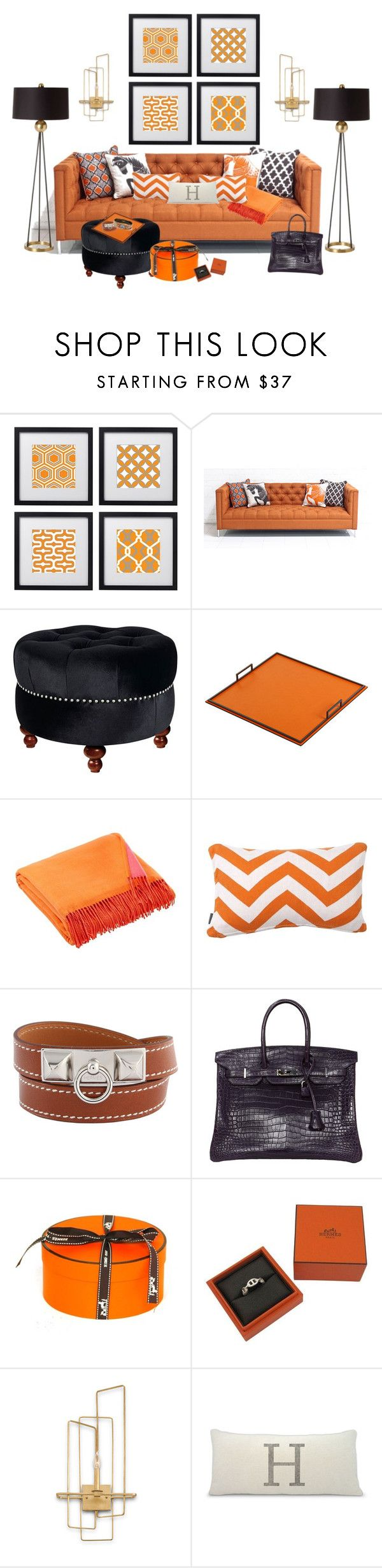 Hermes Orange...Ultimate Luxury! by kimberlyd-2 on Polyvore featuring interior, interiors, interior design, home, home decor, interior decorating, ModShop, Arteriors, Currey & Company and LINLEY