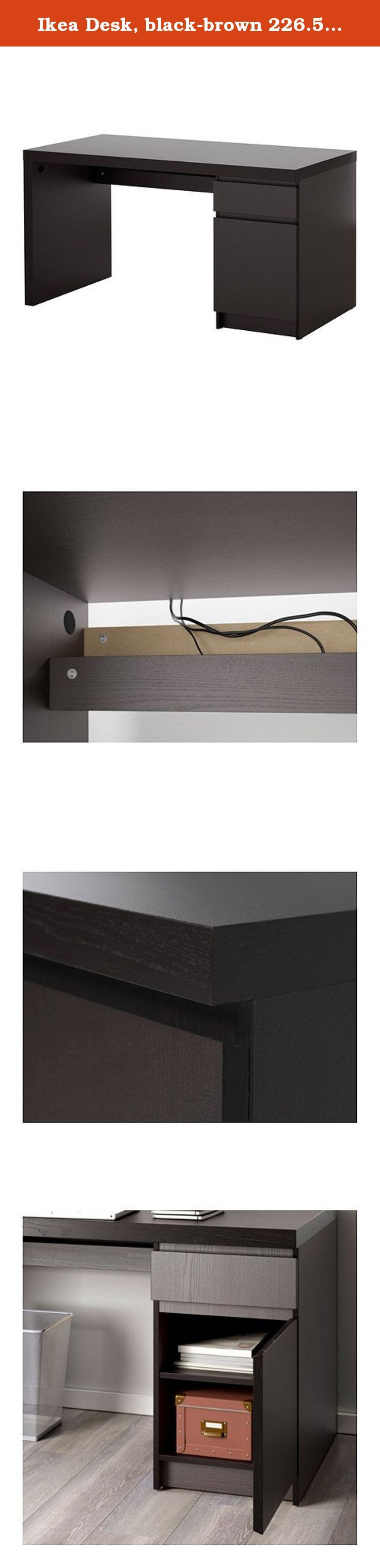 """Ikea Desk, black-brown 226.5145.2230. Particleboard, Fiberboard, Honeycomb structure recycled paper filling, Ash veneer, Stain, Clear acrylic lacquer, Paper Product dimensions Width: 55 1/8 """" Depth: 25 5/8 """" Height: 28 3/4 """" Max. load: 55 lb Width: 140 cm Depth: 65 cm Height: 73 cm Max. load: 25 kg Good to know Combines with other furniture in the Ikea series. Always follow the instructions in the manual for charging electronic equipment. We recommend that the power is switched off when..."""