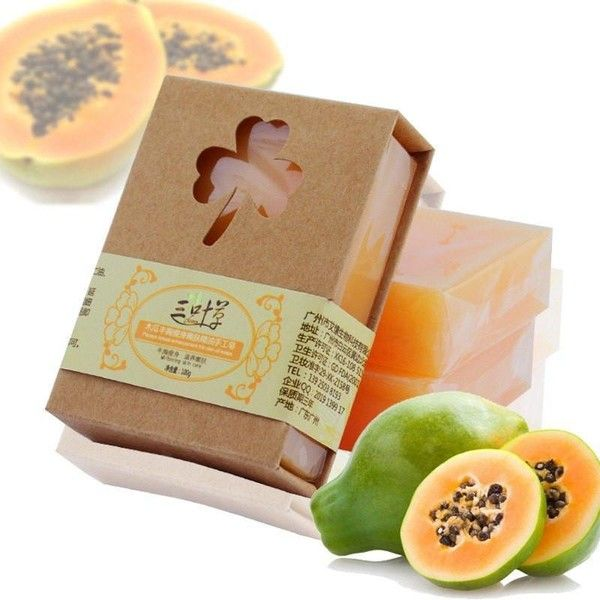Herbal Papaya Soap ($7.97) ❤ liked on Polyvore featuring beauty products, bath & body products and body cleansers