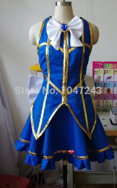 New Anime Fairy Tail Lucy Heartfilia Cosplay Blue Gold Costume